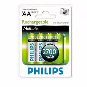 Pilas Recargables Philips Aa Pack X 4 2700 Mah Super Oferta!