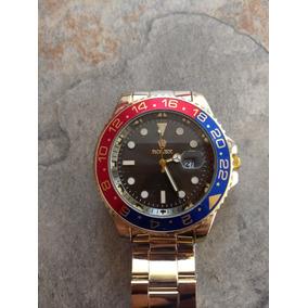 Rolex Tipo Submarine Azul Marino Y Negro, Reloj Plata