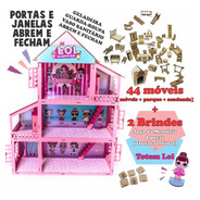 Casa Casinha Pintada Rosa Branca Lol + 44 Móveis + Brinde