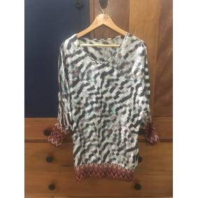 Vestido/blusa Seda Estampada Marca Custo Talla M Usado