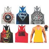 Kit 4 Camiseta Regata Super Cavada Musculação Academia