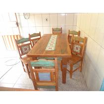 Jogo De Mesa Em Madeira De Demolição Com 6 Cadeiras