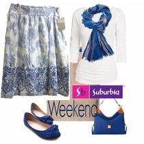 Falda Blanca Con Azul Weekend Suburbia T-ch Zara Bershka Lv