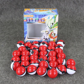 Caja Con 36 Pokebolas 3.5 Cm Y Pokemon Basicos Con Stickers