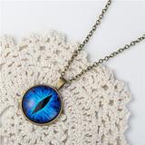 Colar Pingente Olho De Gato Vintage Azul Delicado