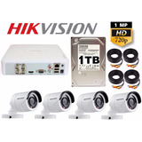 Kit Circuito Cerrado 4 Cámaras Hd-720p Cctv Hikvision 1 Tb