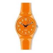 Reloj Swatch De Plástico Naranja Con Números Go105