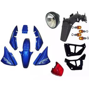 Kit Plástico Carenagem Hond Cg Titan 150 2007 Esd Azul Pç 15