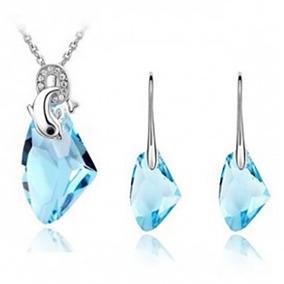 Collar Y Aretes Con Cristal Y Delfín Envío Incluido