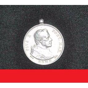 Moeda De Prata Raríssima Papa Pio X Medalha Religiosa