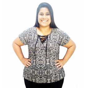 Blusa Blusinha Feminina Plus Size Decote V Com Cordão