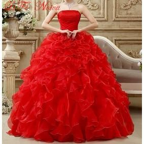 Vestido Noiva E Debutante 15 Anos Vermelho Pronta Entrega