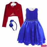 Vestido Infantil Luna Galinha Pintadinha Tiara Bolero 4/12
