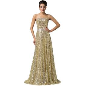 Hermoso Vestido Fiesta Noche Dorado Oro Chico Envío Gratis