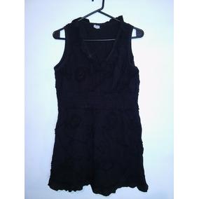 Vestido Corto Camisa Blusa Bordada Negra Talle M