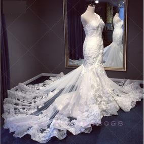 Vestido De Noiva Sereia Renda Calda Longa