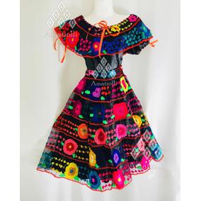 Vestido Traje Artesanal Típico De Flores Chiapaneca De Niña