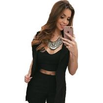 Conjunto 3 Peças Cropped Shorts Cintura Alta Colete Blazer