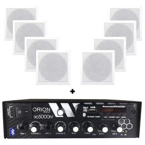 Kit Som Ambiente 300w Bluetooth + 8 Caixas P/gesso Quadradas