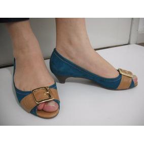 Sapato Feminino Azul Jorge Bischoff Camurça T 35 Ótimo Estad