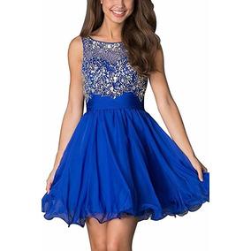 Anlin Vestido Corto Fiesta Media Pierna Azul Rey