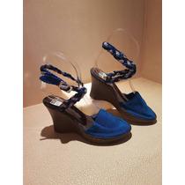 Zapatos Tejidos A Mano Para Mujer Talla 4 Azules