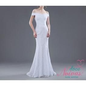 Vestido De Noiva Civil Sereia Cláudia Branco E Off White