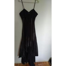 Vestido De Fiesta Negro De Raso, Solo Se Uso Una Vez