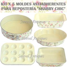 Set X 5 Moldes P/repostería Antiadherente Teflonado Premium