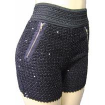 Shorts Feminino Paete Brilhante Com Bolsos Falso Ziper Novo