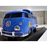 Ok Kombi Azul 29cm Pneu Borracha Prancha Surf Van Mini Bus