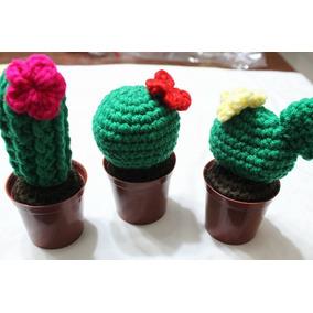 Cactus Con Flor Y Maceta Tejido Al Crochet
