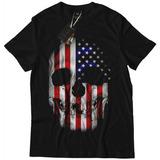 Camiseta Camisa Blusa Caveira Bandeira Estados Unidos Top