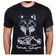 Camiseta Kallegari Espírito Selvagem Moto Custom Lobo Harley