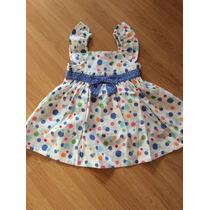 Vestido Infantil Tam. 12 A 18 Meses Branco E Bolas Coloridas