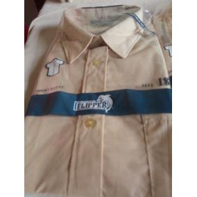 Camisas Colegiales Beige Unisex, Marca Flipper T 14 Y 20