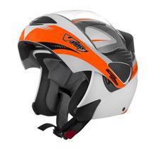 Capacete V-pro Jet 2 Carbon Branco/laranja-58