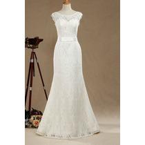 Vestido Noiva Sereia Tradicional Renda Bordada Sob Medida