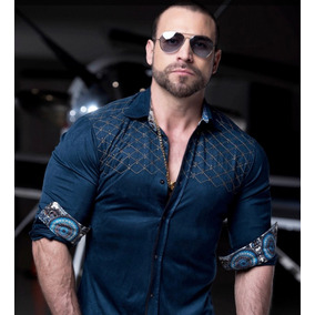 Camisa Rafael Amaya Luxury 209ca01 Capitone Azul Hombre