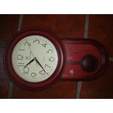 Reloj Con Pendulo A Pila Marca Pier Cardin Madera