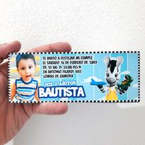 Pack 12 Invitaciones La Cebrita Zou Personalizadas Con Foto!