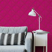 Papel De Parede Adesivo 3d Efeito Gesso Pink 3,05 Metros