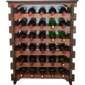 Adega Vinho Madeira 30 Garrafas Tipo Mesinha Cor Imbuia C05