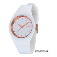 Reloj Feraud F5533whr Mujer Silicona Blanco Y Dorado