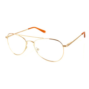 Armação Óculos De Grau Aviador Feminino Dourado Básico