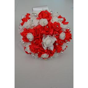 Ramo Rojo Con Blanco Novia Xv Años Cristales Grande 25cm