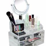 Organizador Maquillaje Cosmetico Joyas Acrilico Con Espejo