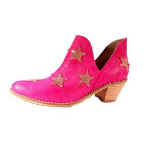 Bota Taco Foliado Cuero Estrellas Obvio En Shoestore
