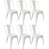 Kit 6 Cadeiras Design Tolix Metal Branca C/ Mesa Café Grátis