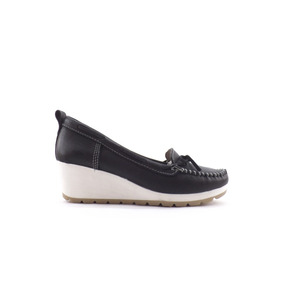 Zapatos Marsanto Dama Mujer Taco Chino Mocasin Cuero Moño